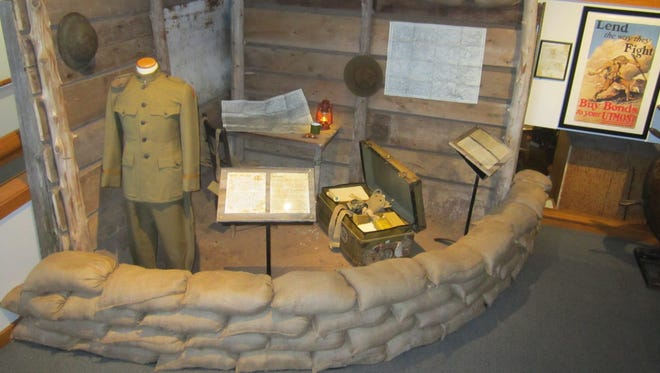 A partial recreation of a World War I trench is part of a new exhibit about the war opening May 19 at the Door County Historical Museum in Sturgeon Bay. The items in the exhibit are from a trunk owned by WWI veteran Capt. Edward Reynolds of Sturgeon Bay.