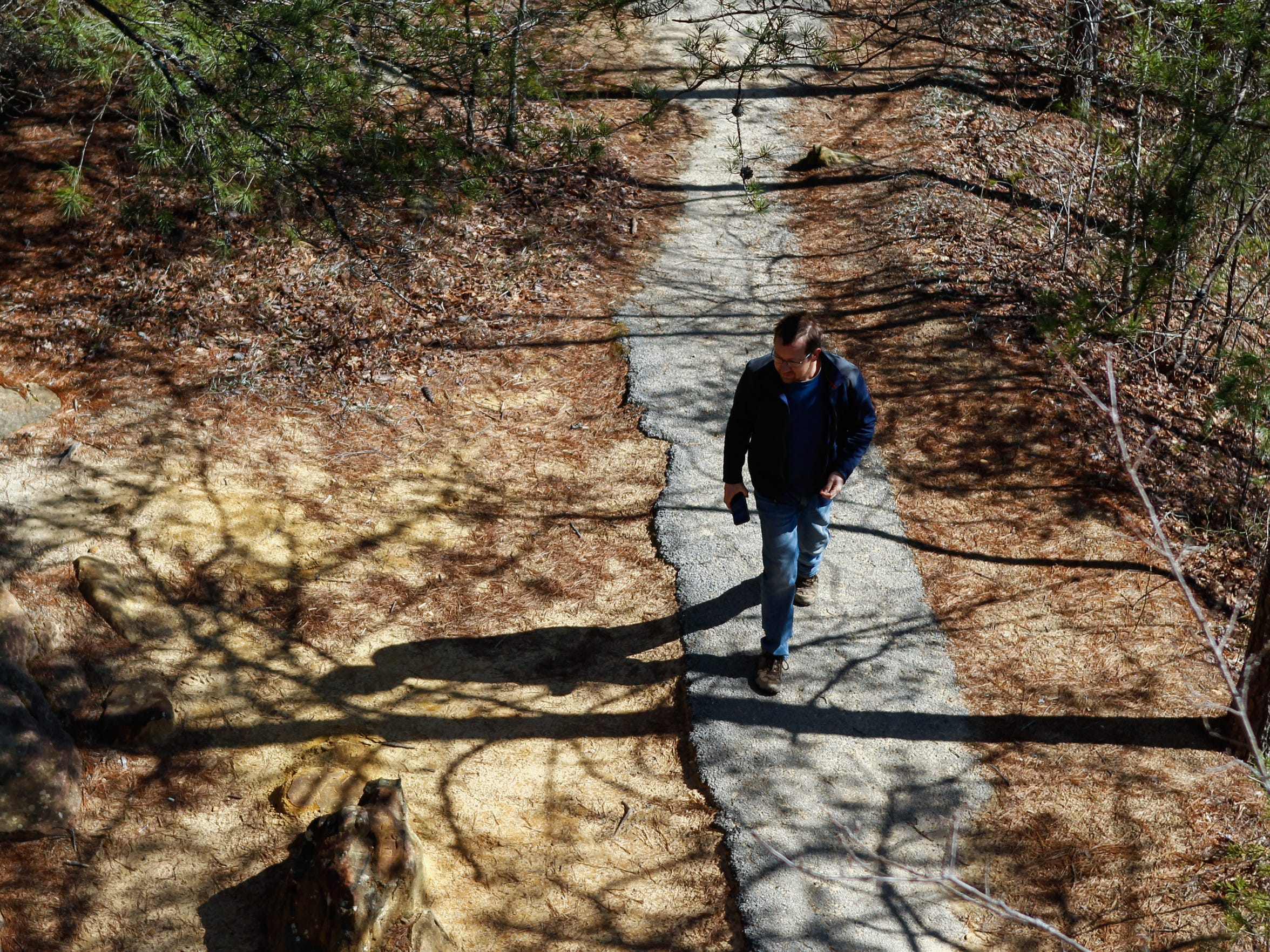 Spencer Goehl of Bloomington, Indiana, hikes along