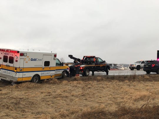 A Gold Cross Ambulance was involved in a crash north
