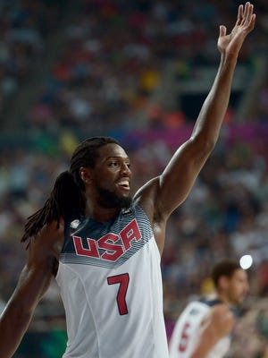 Kenneth Faried celebrates during Team USA's win Thursday against Lithuania in Barcelona.