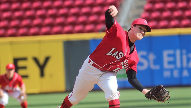 La Salle junior Drew Nieman throws to Elder. He pitched seven shutout innings of two-hit ball during La Salle's 1-0 win over Elder in eight innings during a Reds Showcase baseball game at Great American Ball Park April 20, 2018