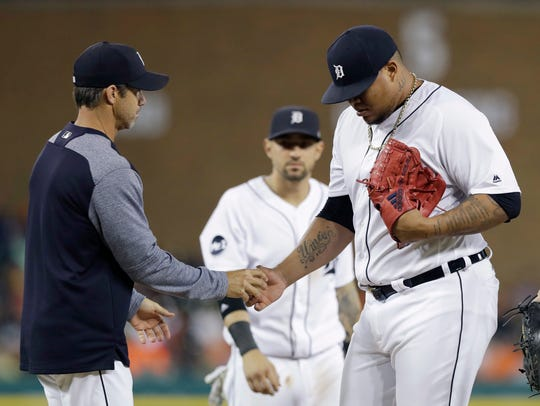 Tigers pitcher Bruce Rondon is removed during the eighth