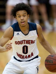 Southern Indiana guard Marcellous Washington is averaging 11.3 points per game in Great Lakes Valley Conference play.