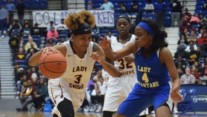 Natchitoches Central senior Jolie Williams (3) drives down the lane against vs. East Ascension in the LHSAA Class 5A state championship. Williams averaged 30 points and five rebounds this season and is the 2018 All-Cenla girls basketball MVP.