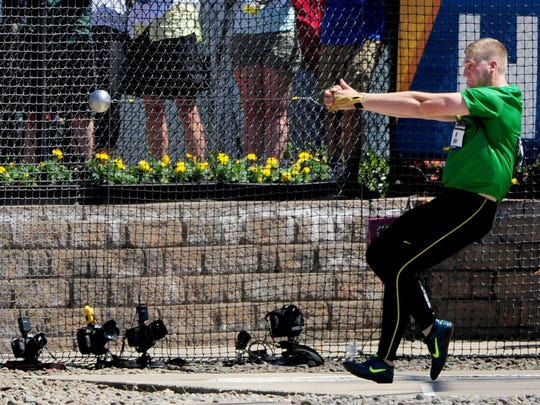 Oregon's Greg Skipper competes in the hammer throw during the NCAA Men's Division I 2015 Outdoor Track & Field Championships at Hayward Field, on Wednesday, June 10, 2015, in Eugne, Ore.