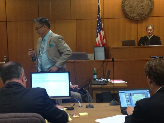 Ramco attorney Kevin Place makes a closing argument to jurors Wednesday.