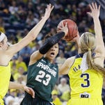 MSU's Aerial Powers (23) looks to pass while defended by Michigan guards Nicole Elmblad (14) and Katelynn Flaherty (3) during the second half of a game in January. MSU and Michigan will meet in a Big Ten tournament contest Thursday.