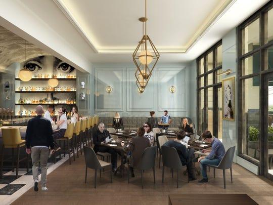 Rendering of interior of new restaurant Henley, opening late spring 2017 in Midtown.