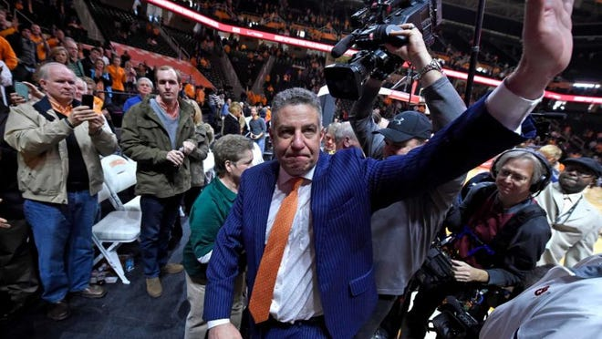 Auburn head coach Bruce Pearl led his team to a upset victory over No. 23 Tennessee on Jan. 2, 2018 in the first road win over a ranked team for the Tigers in over a decade.