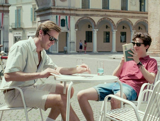 """Elio (Timothée Chalamet, right) meets Oliver (Armie Hammer) one summer in the '80s in """"Call Me By Your Name."""""""