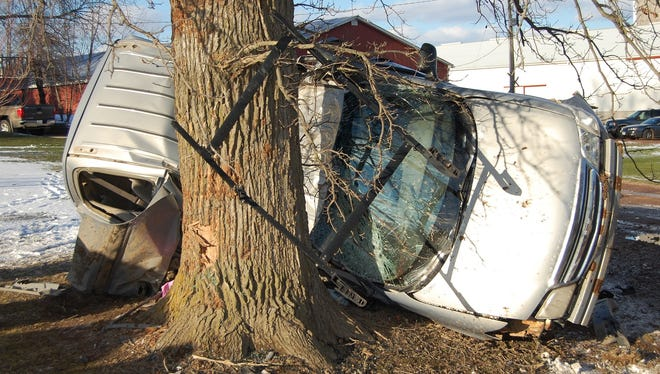 Two children were killed Saturday when the minivan they were in went out of control and crashed into a tree.