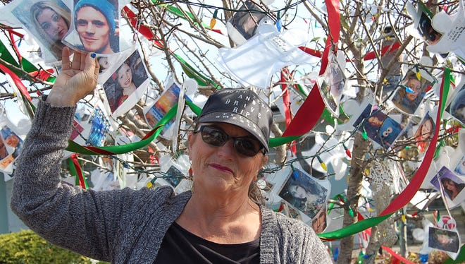 Joanne Higgins started the memorial tree last holiday season to honor her nephew and godson, Tyler Smedley, and to raise awareness about the dangers of distracted driving, which includes anything that diverts attention from the road.