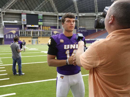 Eli Dunne meets the media during UNI's media day on Aug. 2.