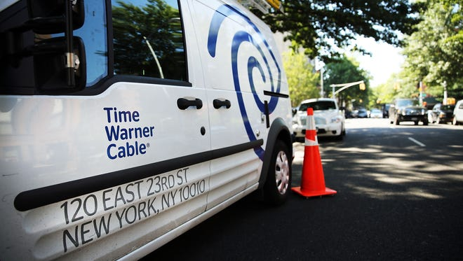 A Time Warner Cable truck is viewed in Brooklyn on August 27, 2014 in New York City.