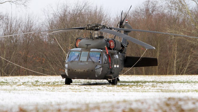 A Black Hawk helicopter with mechanical issues was forced to land in a field off Elmwood Road in the Lewisboro section of South Salem on Nov. 20, 2016.