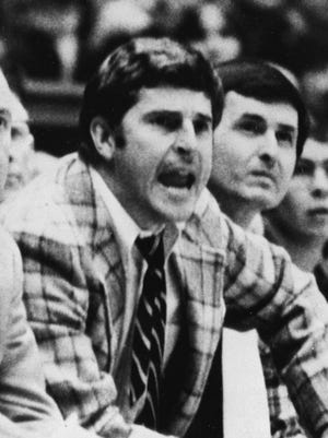 Indiana coach Bobby Knight reacts as his team has a difficult time with the Buckeyes of Ohio State in Columbus, Ohio, Jan. 3, 1976.