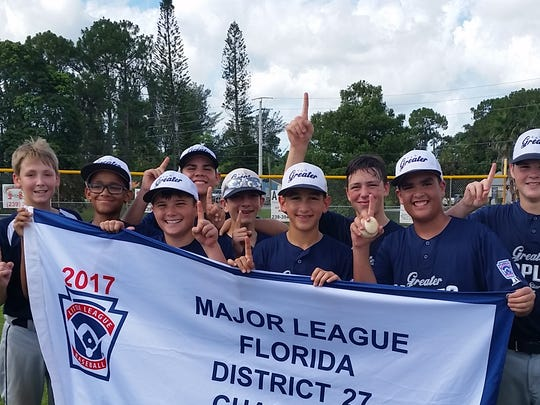 The Greater Naples 10-12 Little League baseball team secured the District 27 championship last weekend. Pictured are, left to right, Hayden Stewart, Jayson Damas, Brock Roderick, Richard Soto, Christopher Rosato, Max Aizenshtat, Toby Hansen, Joel Pena and Preston Smith.