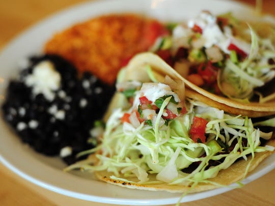 The black bean tacos, made with seasoned black beans, onion, cabbage, cilantro and pico de gallo are on the menu at Kitchen on Court Street in Salem.