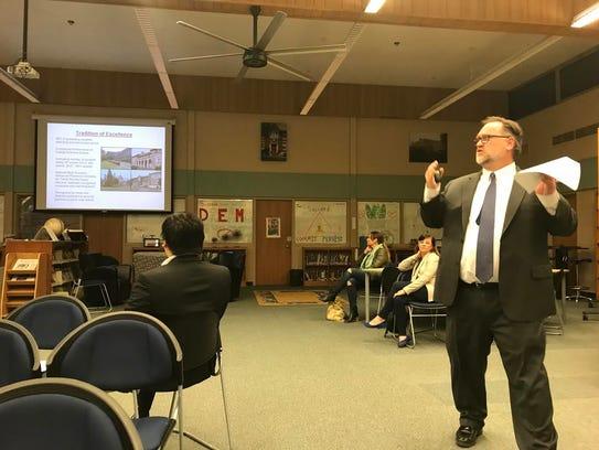 Glen Ridge Schools Superintendent Dirk Phillips at a BOE meeting last year speaking about the 2017-2018 school year budget.
