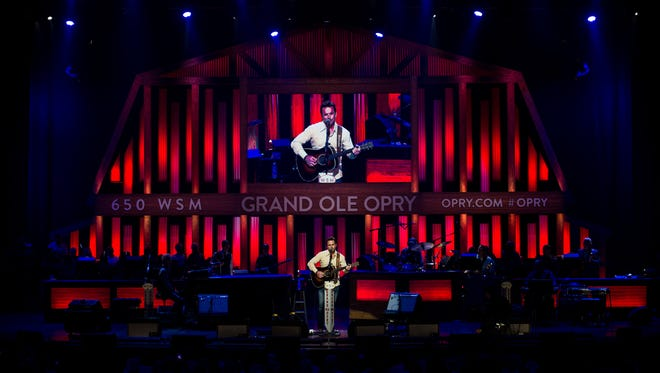 Charles Esten performs at the Grand Ole Opry in Nashville, Tenn., Saturday, July 15, 2017.