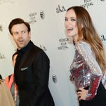 "Olivia Wilde and Jason Sudeikis attend the Tribeca Film Festival world premiere of ""Meadowland"" at the SVA Theatre in New York."