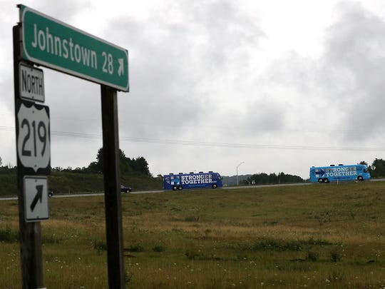Campaign buses for the Democratic presidential ticket