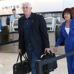 Gov. Mike Pence and first lady Karen Pence (preparing to depart Indianapolis International Airport last week) are returning from Germany today.