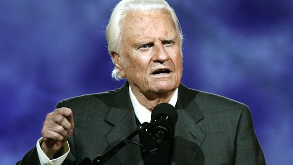 Billy Graham delivers his message at the Billy Graham