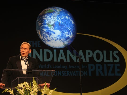 Polar-bear researcher Dr. Steven Amstrup accepts the Indianapolis Prize in 2012.