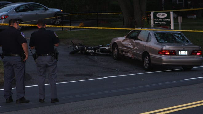 A motorcyclist was taken to Westchester Medical Center after crashing into a car on Route 9 in Ossining on July 3, 2016.