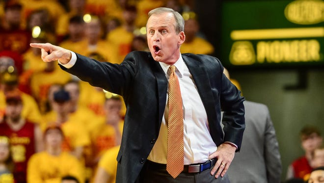 Jan 27, 2018; Ames, IA, USA; Tennessee Volunteers head coach Rick Barnes reacts during the first half against the Iowa State Cyclones at James H. Hilton Coliseum. Mandatory Credit: Jeffrey Becker-USA TODAY Sports