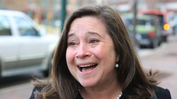 Democrat Shelly Simonds reacts to the news that she