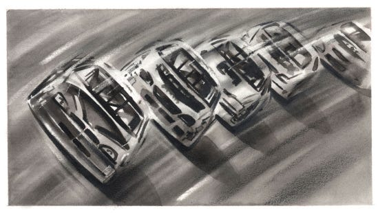 Nascar Illustration Black and White