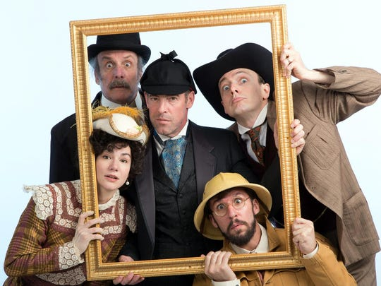 "Starring in the Walnut Street Theatre production of ""Baskerville"" are, clockwise from upper left, Bill Van Horn, Ian Merrill Peakes, Jered McLenigan, Dan Hodge and Sarah Gliko."