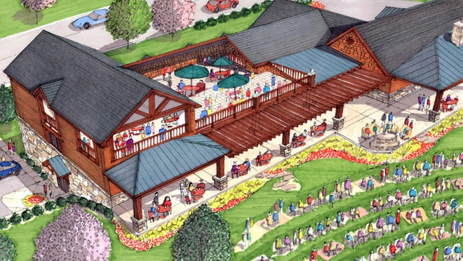 This 2014 rendering shows plans for King Louie's Place in Middletown, where patrons of a bar and grill would be able to watch shows at the facility's amphitheater from the patio.