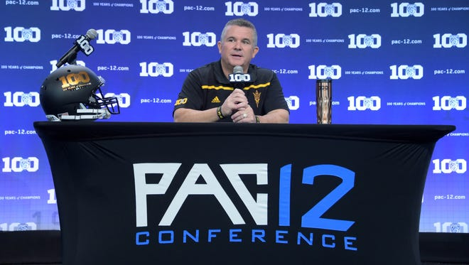 Arizona State Sun Devils coach Todd Graham at Pac-12 Media Day at Warner Bros. Studios.