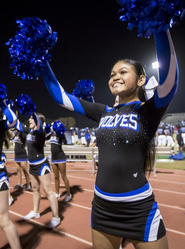 Chandler cheerleaders during the 6A quarter-final football game between the Chandler Wolves and the Pinnacle Pioneers at Chandler High School on Saturday, November 11, 2017 in Chandler, Arizona.