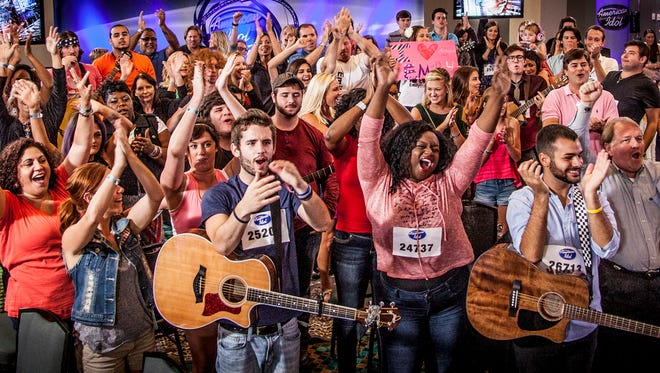 """American Idol"" hopefuls gather in Nashville for auditions on Monday, Aug. 4, 2014."