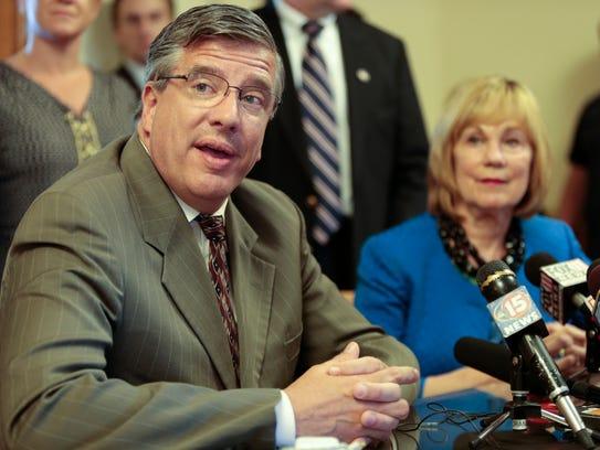 State Rep. John Nygren, R-Marinette, left, and state