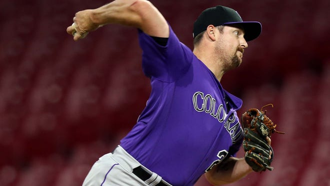 Colorado Rockies relief pitcher Bryan Shaw has struggled this year.