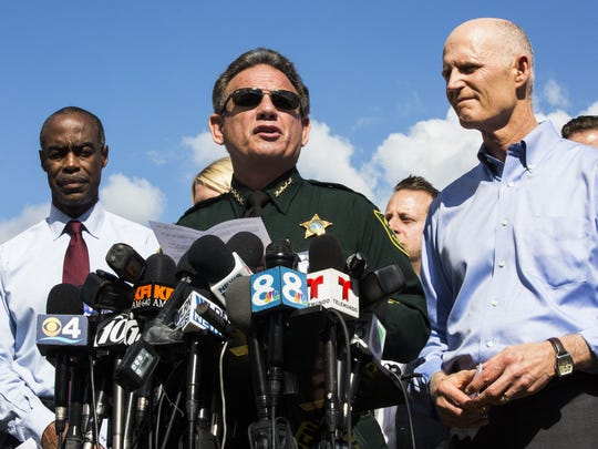 Broward County Sheriff Scott Israel addresses the press during the first media briefing on Thursday, Feb. 15, 2018 outside of Marjory Stoneman Douglas High School in Parkland, Fla.