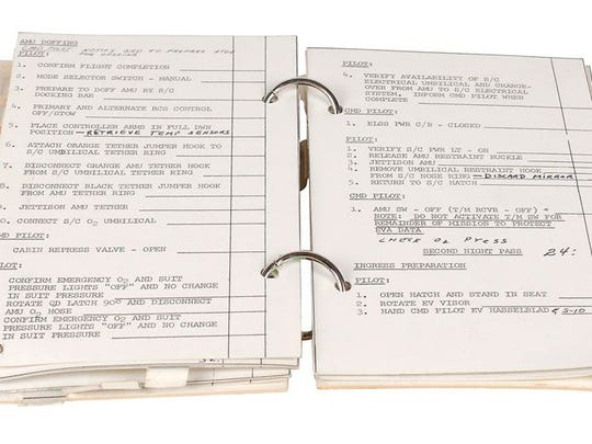 A NASA checklist for a moon mission flown into space, part of the Leon Ford collection to be auctioned in late June in Boston.