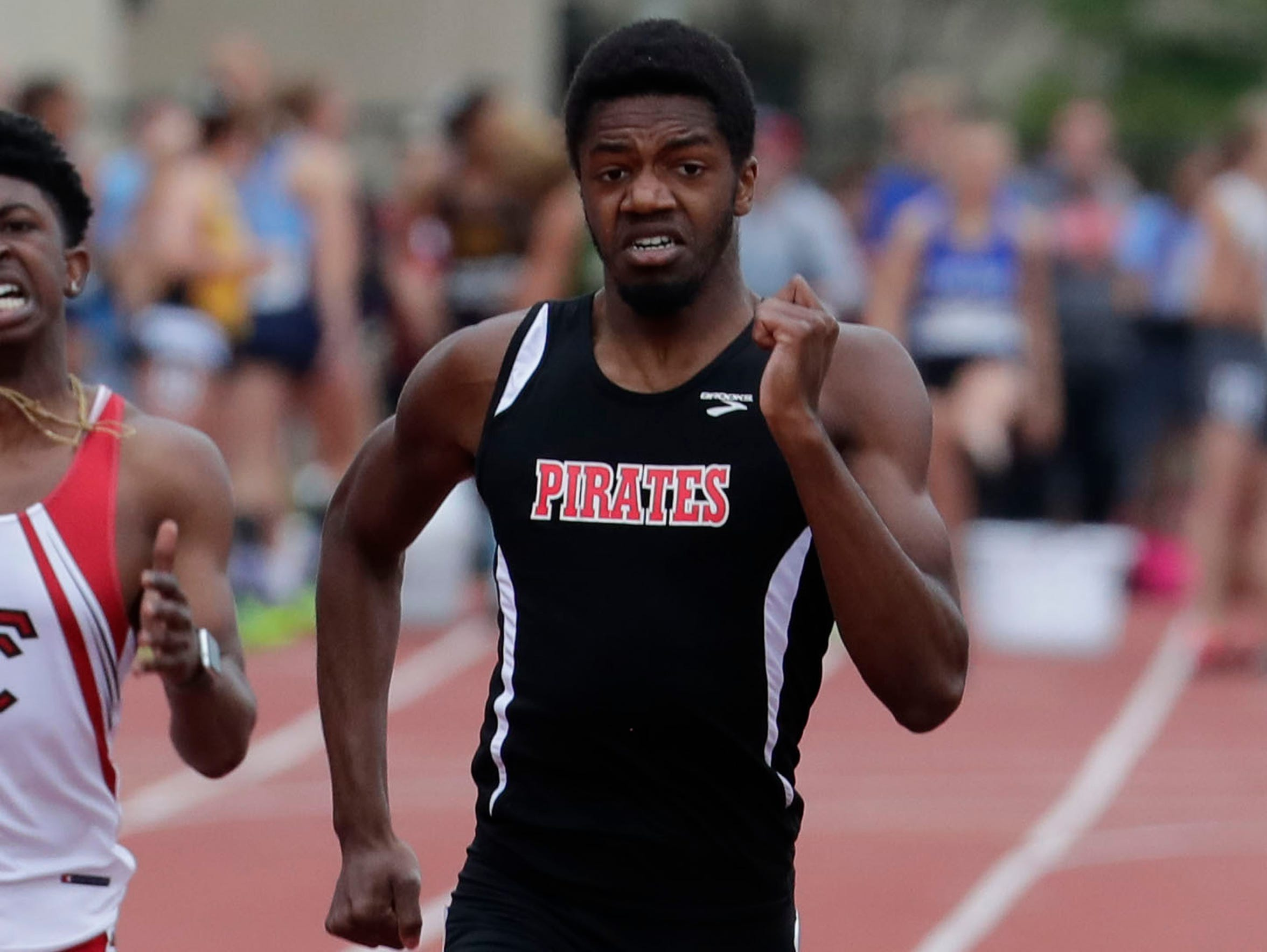 David Young of Pewaukee finishes second in the boys Division 1 400 meters at the WIAA state track and field meet.