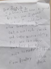 A letter from Bradley to Santa, shown Friday, Dec.