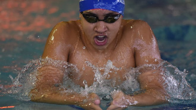 Zach Valenzuela of Wayne Valley swims the 200-yard individual medley during the Passaic County Swimming Champions in 2016.
