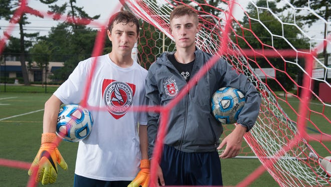 Portrait of Haddon Township High School boys' soccer players Brett Hintz, left, and  Jared Green.  08.18.17