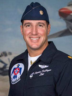 Air Force Thunderbirds pilot Maj. Stephen Del Bagno was killed Wednesday, April 4, 2018, during a routine flight demonstration in Nevada.
