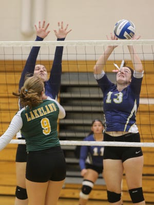 Eight lower Hudson Valley teams participated in the 40th annual Yorktown varsity volleyball tournament at the school, Sept. 19, 2015. They were Yorktown, Ursuline, Kennedy Catholic, Lakeland, Ardsley, Clarkstown South, Somers and Putnam Valley.