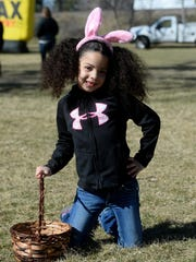 Amayah Hill, 5, enjoyed the City of Great Falls Easter egg hunt sponsored by Steel Etc. on Saturday in Gibson Park.