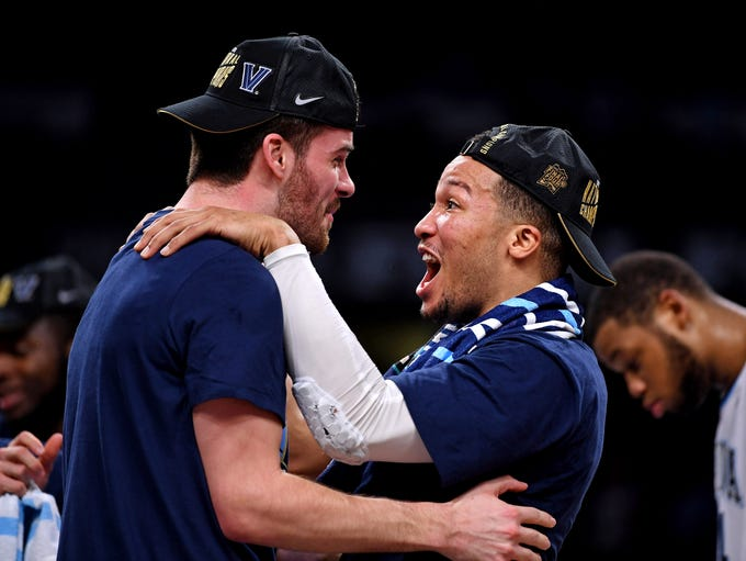 Villanova Wildcats guard Jalen Brunson (1) celebrates